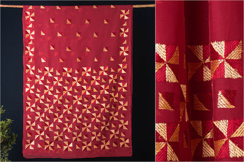 Traditional Phulkari Embroidered Kota Doria Saree