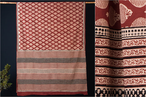 Classic Bagru Hand Block Print Check Pattern Cotton Saree with Blouse