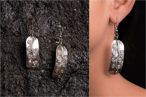 Sufi Handcarved Sterling Silver Earrings