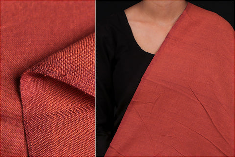 Red - Jhiri Pure Handloom Cotton Fabric (Width - 48in)