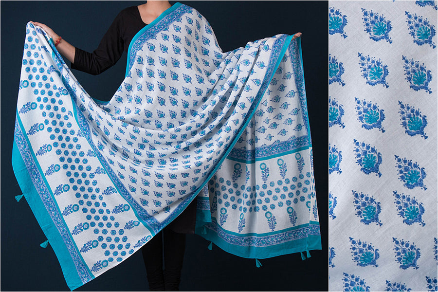 Sanganeri Block Printed Mul Cotton Dupatta with Tassels