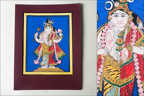 12.8in x 8in - Traditional Mysore Painting Ardhanarishvara