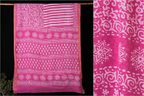 Hand Batik Printed Cotton Saree by Wasim