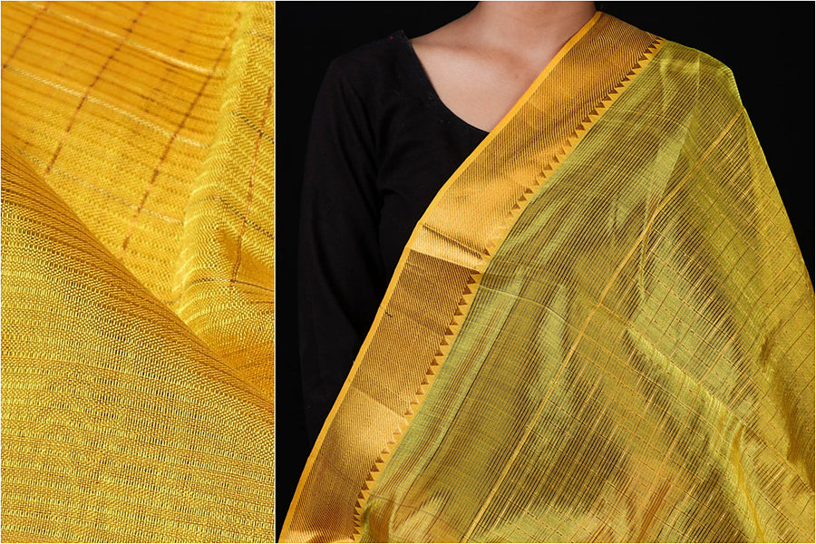 Original Mangalgiri Silk Cotton Zari Checks Handloom Fabric