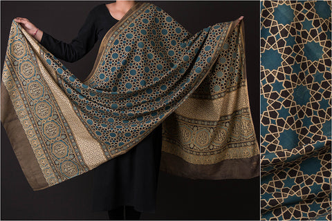 Ajrakh Print Natural Dyed Cotton Dupatta from Kutch