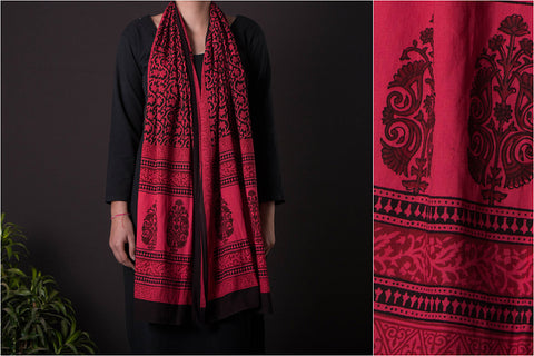 Bagh Gad Block Print Natural Dyed Cotton Stole