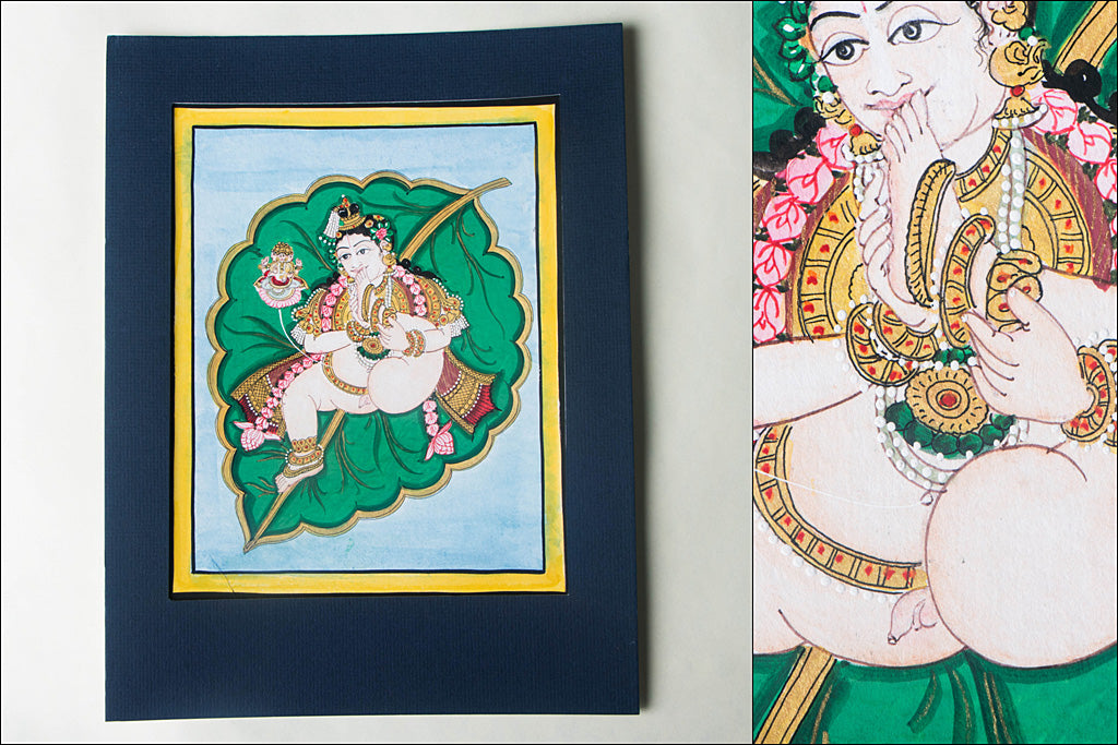 12.8in x 8in - Traditional Mysore Painting Krishna on Leaf