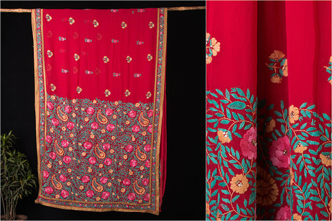 Traditional Phulkari Embroidered Pure Georgette Saree