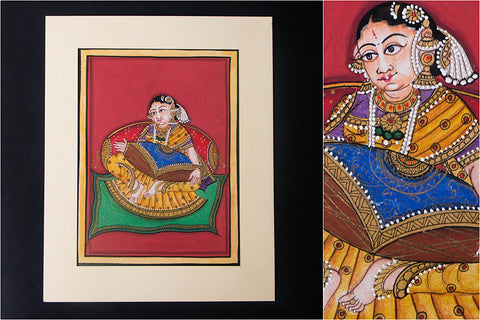 8in x 6in - Traditional Mysore Painting Musical Lady with Mrudanaga