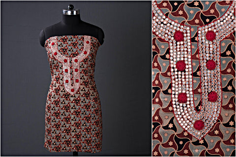 Hand Embroidered Bead Work Ajrakh Block Printed Cotton Kurta Material (2.5 metres)