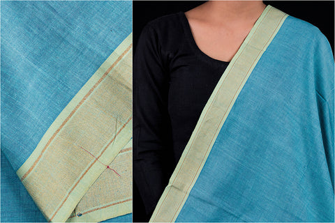 Teal Blue - Dama Mangalgiri Handloom Cotton Fabric with Zari Thread Border
