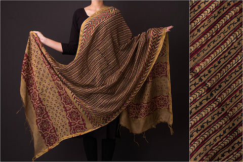 Ajrakh Hand Block Print Chanderi Silk Dupatta with Zari
