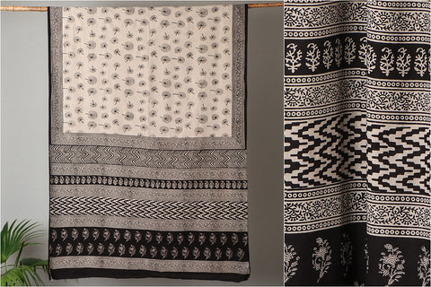 Syahi Bagru Buti Hand Block Printed Soft Fine Cotton Saree with Blouse