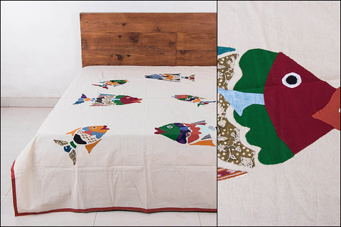 Applique Work Cotton Bedcover - Fish (90 x 60 inches)