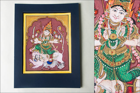 12.8in x 8in - Traditional Mysore Painting Chamundeshwari