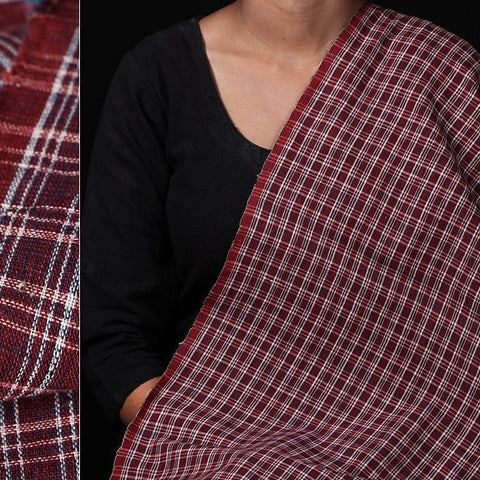 Malkha Cotton Pure Handloom Natural Dyed Fabric - Alizarin Red/Dark Indigo Kora