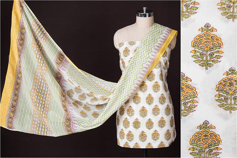 3pc Handloom Block Printed Suit Material with Block Printed mul Dupatta