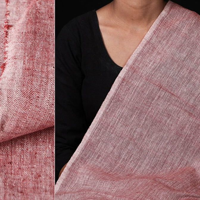 Malkha Cotton Pure Handloom Natural Dyed Fabric - Kora/ Manjishtha Brick Red