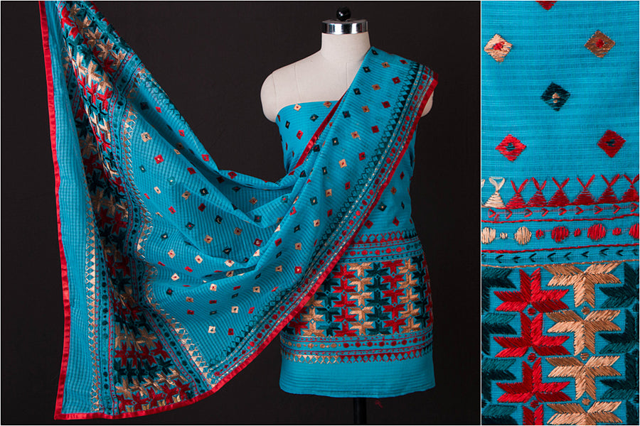 Phulkari Embroidered Kota Doria 2pc Suit Material