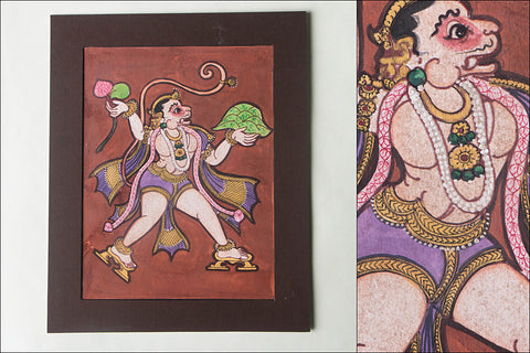 8in x 6in - Traditional Mysore Painting Hanuman God God