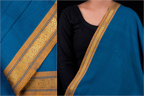 Dama Mangalgiri Handloom Cotton Fabric with Zari Thread Border