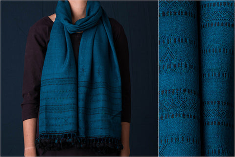 Handwoven Pure Wool Embroidered Stole