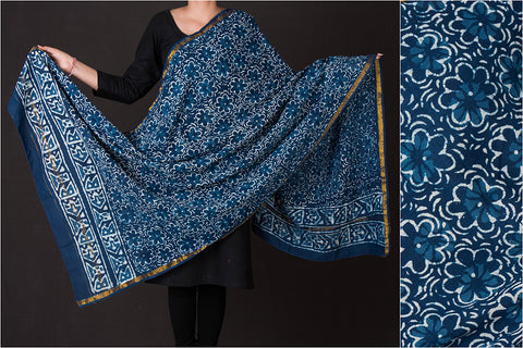 Bagru Block Printed Chanderi Silk Dupatta with Zari