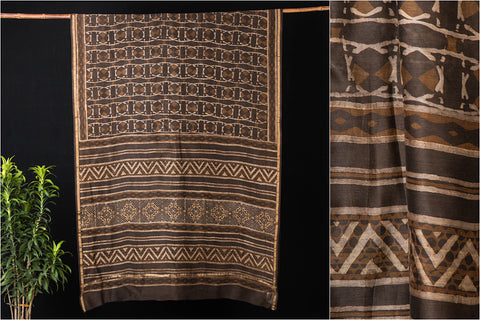 Traditional Akola Block Print Handloom Chanderi Silk Saree with Zari