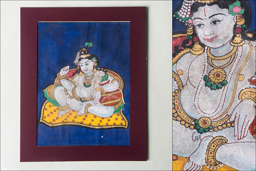 8in x 6in - Traditional Mysore Painting Krishna God