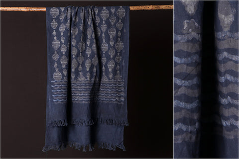 Jhiri Handloom Cotton Towel with Natural Dyed Bindaas Block Print