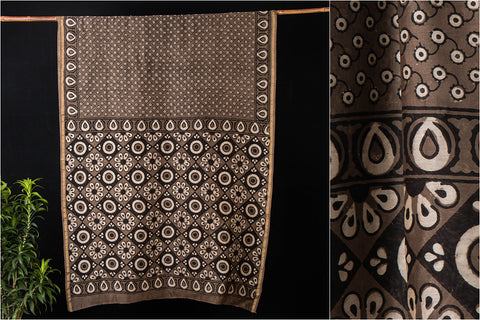 Traditional Pipad Block Print Handloom Chanderi Silk Zari Border Saree with Blouse