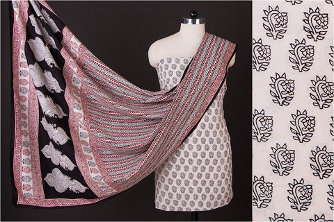 Bagh Gad Print Natural Dyed Cotton 3pc Suit Material Set