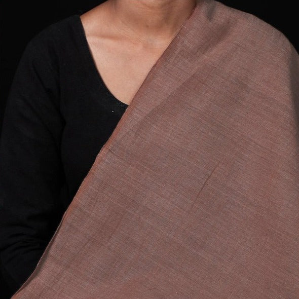 Malkha Cotton Pure Handloom Natural Dyed Fabric -Manjishtha Brick Red/Indigo Green