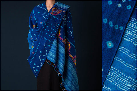 Kutch Handwoven Bandhani with Neran Hand Embroidered Pure Wool Shawl