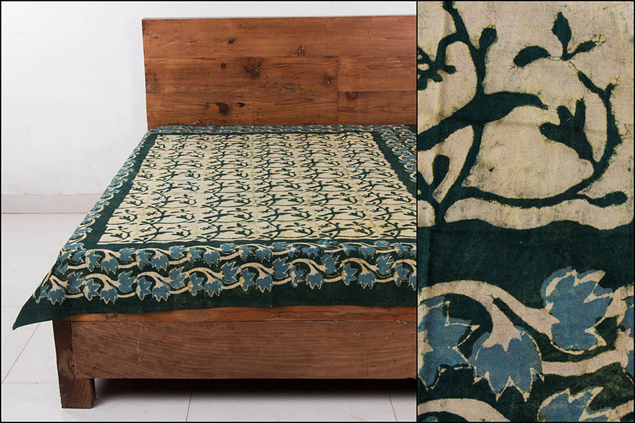 Block Art Prints Natural Dyed Cotton Single Bedcover by Bindaas Unlimited (90 x 62 inches)