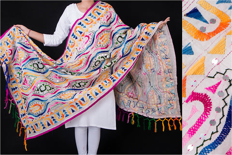 Phulkari Hand Embroidered Silk Cotton Dupatta