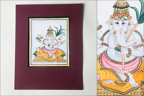 6in x 5in - Traditional Mysore Painting Bala Ganapathi God