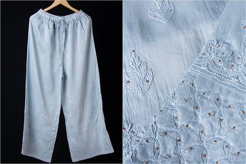 Lucknowi Daraz Applique Mukaish Chikan Embroidery Soft Silk Cotton Palazzo Pant