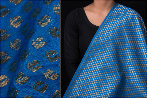 Traditional Pure Banarasi Silk Cotton Zari Buti Fabric