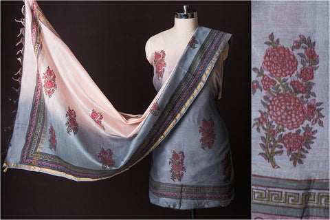 2pc Handloom Chanderi Silk Cotton Block Printed 2pc Suit Material Set with Ombre-Dyed Dupatta