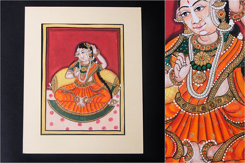 8in x 6in - Traditional Mysore Painting Singing Lady