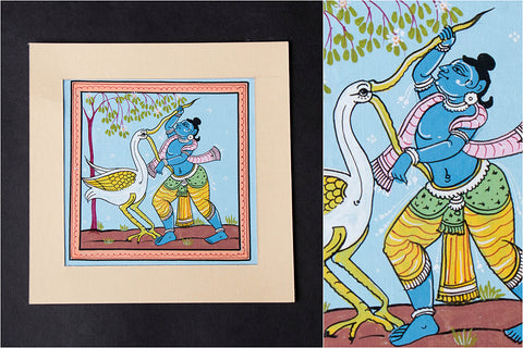 Patachitra Painting on Handmade Paper (5x5 inches)