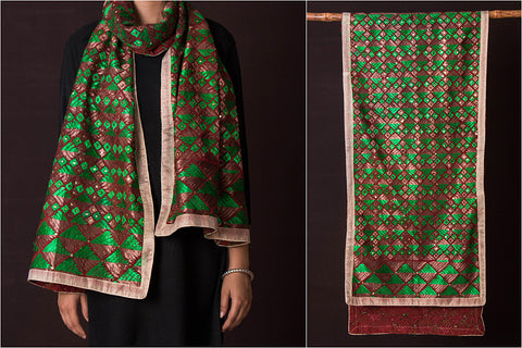 Traditional Phulkari Heavy Embroidered Jaal Cotton Stole