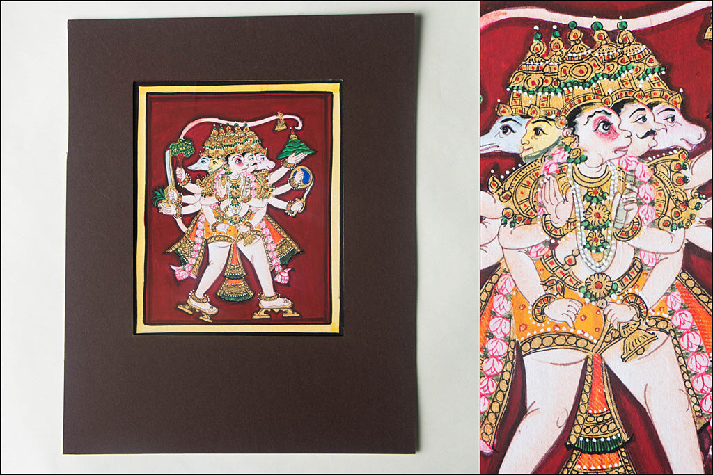 6in x 5in - Traditional Mysore Painting Panchamukhi Hanuman God