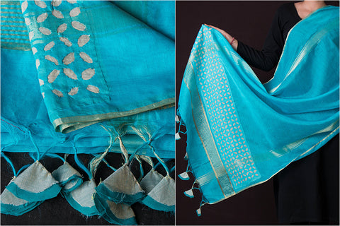 Barmer Applique Work Chanderi Silk Dupatta with Tassels