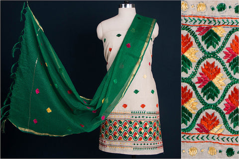 Phulkari Embroidered Cotton 3pc Suit Dress Material