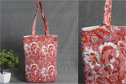 Handcrafted Quilted Sanganeri Print Shoulder Bag