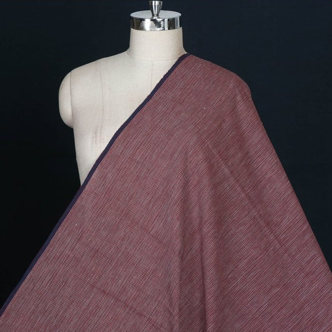 Kora : Dark Indigo : Alizarin Red - Malkha Pure Handloom Cotton Natural Dyed Fabric