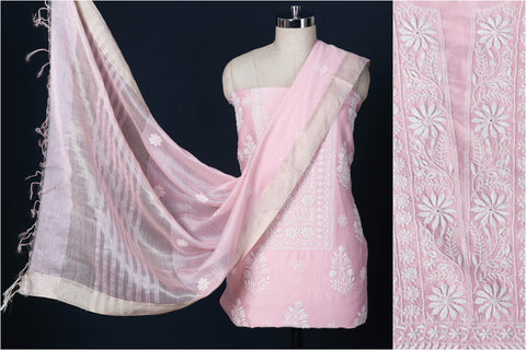 2pc Chikankari Chanderi Silk Handloom Suit Material Set with Zari Border Dupatta