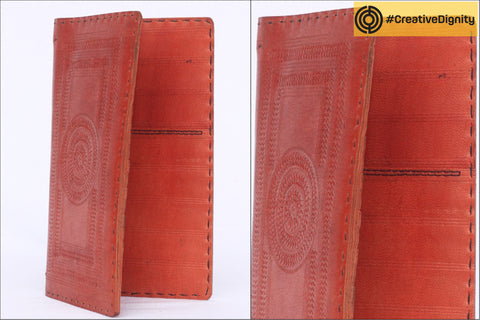 Handcrafted Kutch Leather Passport Case with Intricate Embossing by Anchal Bijlani